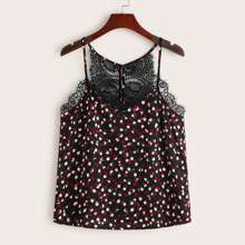 Plus Eyelash Lace Trim Ditsy Floral Cami Top