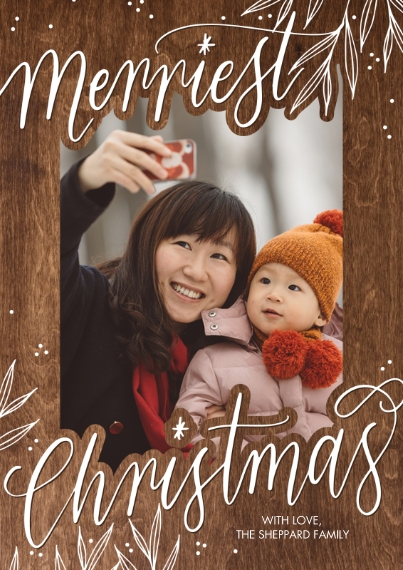 Christmas Photo Cards 5x7 Cards, Standard Cardstock 85lb, Card & Stationery -Christmas Merriest Script by Tumbalina