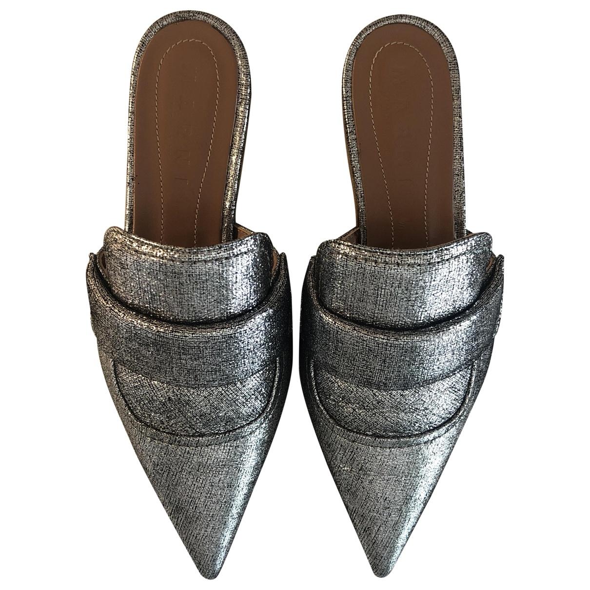 Marni - Sandales   pour femme en cuir - argente