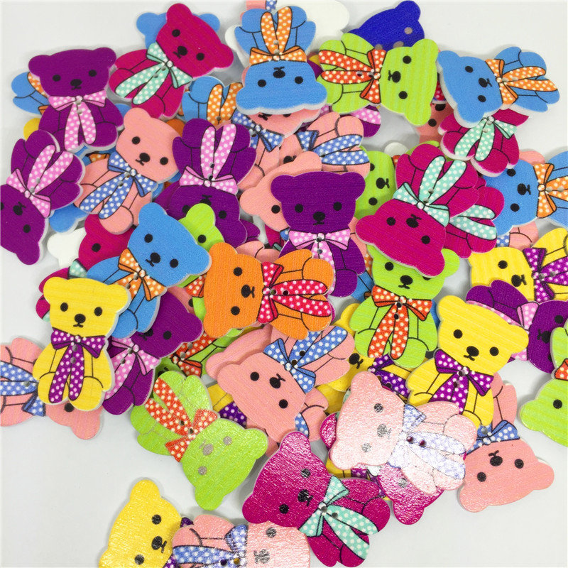 50Pcs Cute Bear Shaped Wooden Sewing Buttons Washable Circle Flower Pattern Decoration Buttons