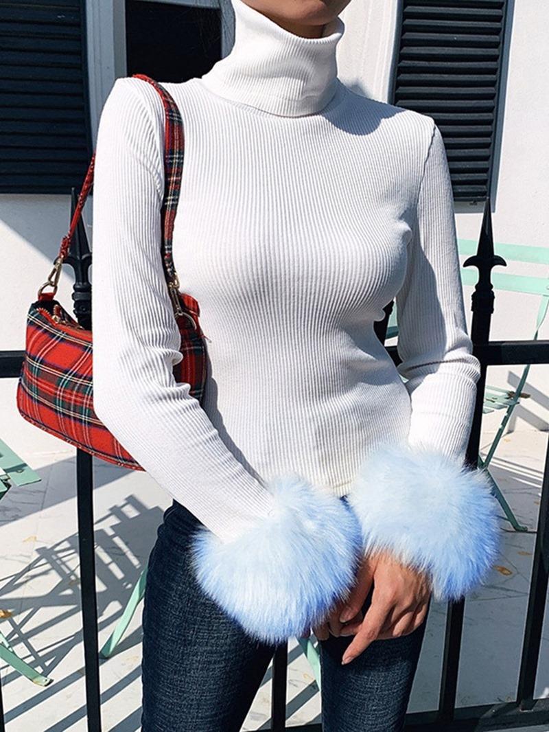 Ericdress Regular Turtleneck Patchwork Fur Sleeves Women's Sweater