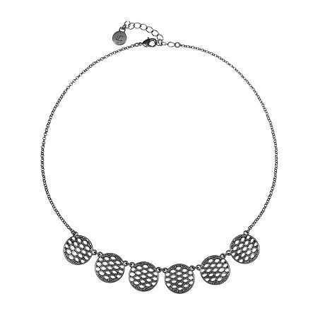 Liz Claiborne 17 Inch Cable Collar Necklace, One Size , Gray