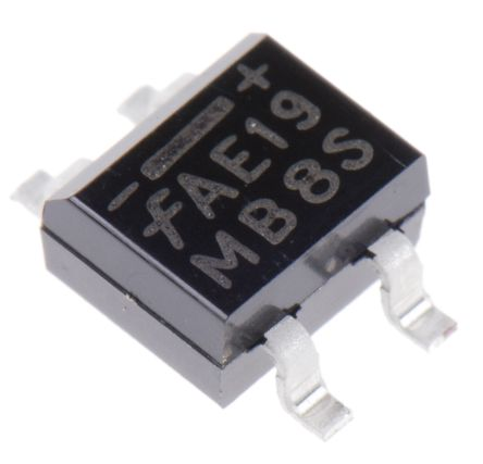 ON Semiconductor MB2S, Bridge Rectifier, 500mA 200V, 4-Pin SOIC (25)