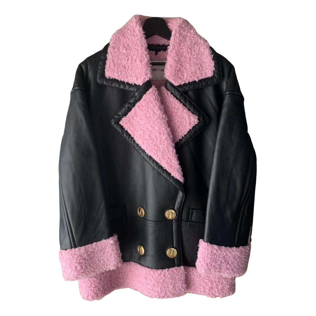 Kenzo X H&m - Manteau   pour femme en cuir - noir