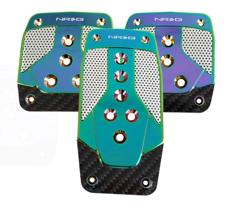 NRG PDL-400MC Aluminum Pedal Pad Cover Plates Neo Chrome Black Carbon 3-Piece MT