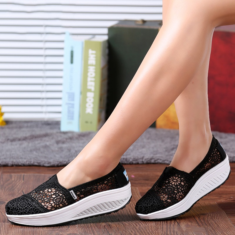 Ericdress Slip-On Round Toe Hollow Platform Sneakers