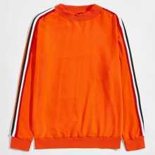 Neon Orange Pullover mit seitlichem Streifen und sehr tief angesetzter Schulterpartie