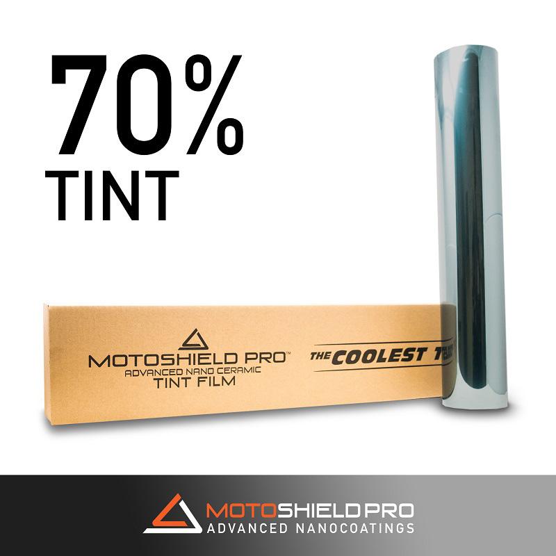 Window Tint 70 Percent Shade 100 Percent IRR 100 Percent UV 20 Inch x 50 Inch Roll Nano Ceramic 2 mm MotoShield Pro
