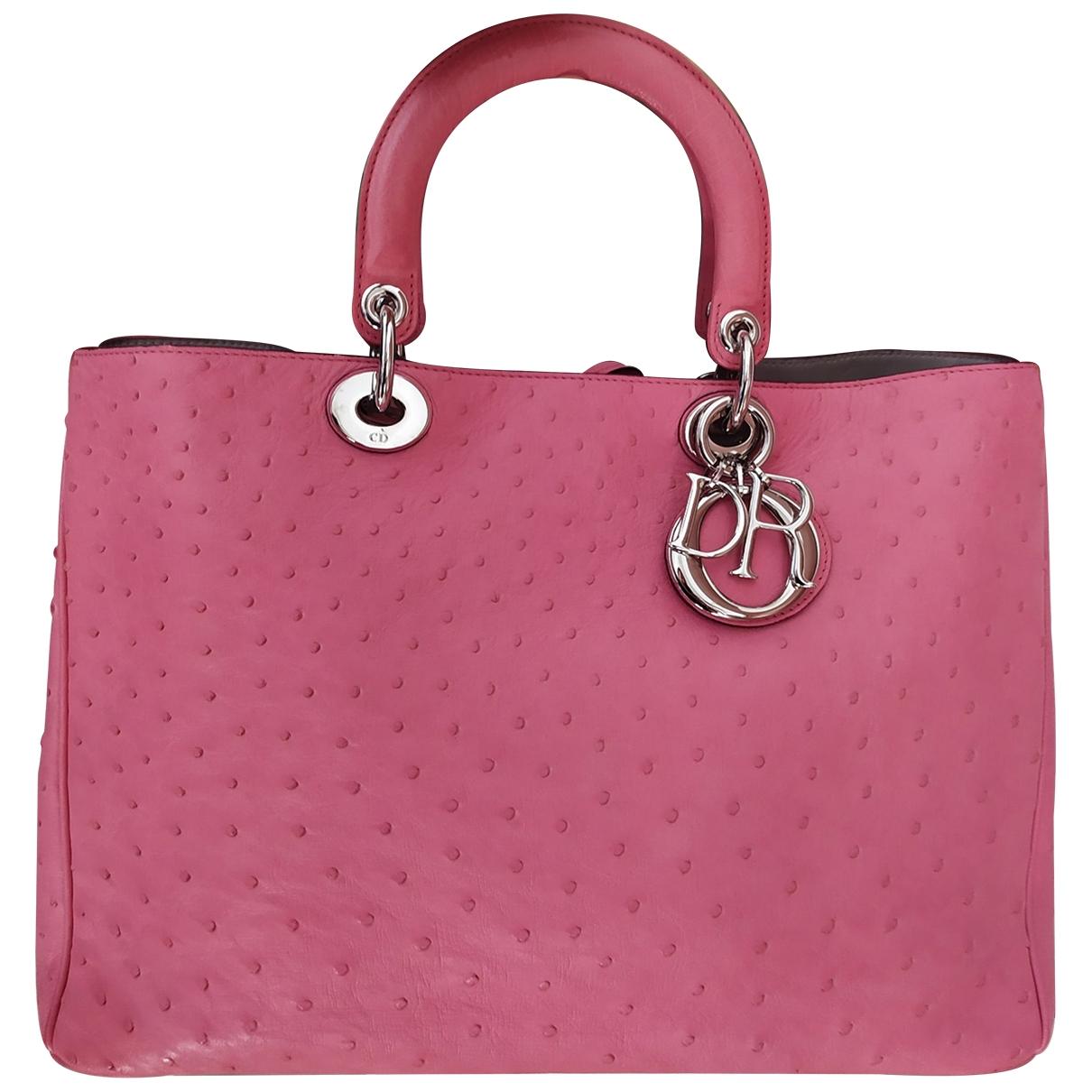 Dior - Sac a main Diorissimo pour femme en autruche - rose
