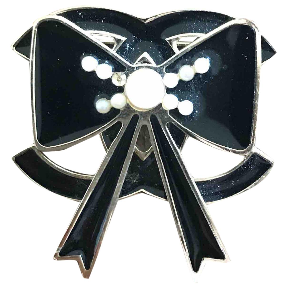 Chanel - Broche CC pour femme en metal - noir