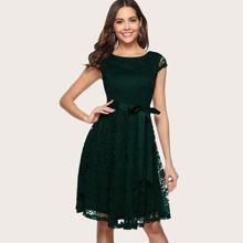 Dressystar V Back Belted Lace Dress