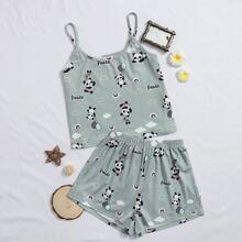 Girls Panda and Letter Print Cami Top & Shorts PJ Set