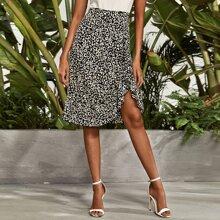 Allover Print Ruffle Trim Asymmetrical Hem Skirt
