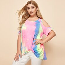 Schulterfreies T-Shirt mit Batik und Twist