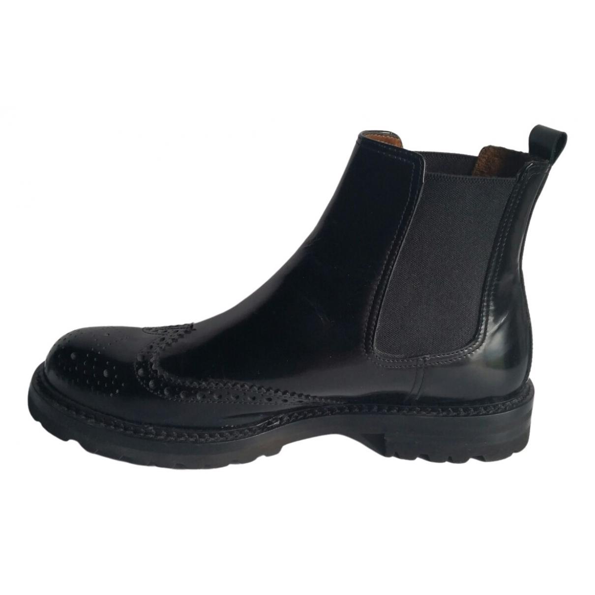 - Bottes.Boots   pour homme en cuir - noir