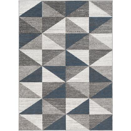 Monte Carlo MNC-2307 9' x 12' Rectangle Modern Rug in Light Gray  White  Charcoal  Sky