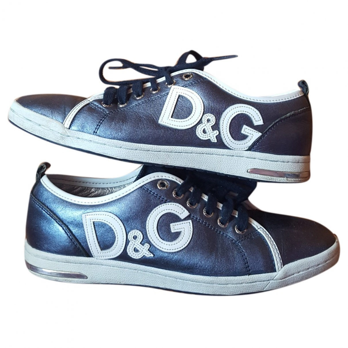 D&g \N Blue Leather Trainers for Women 38 EU