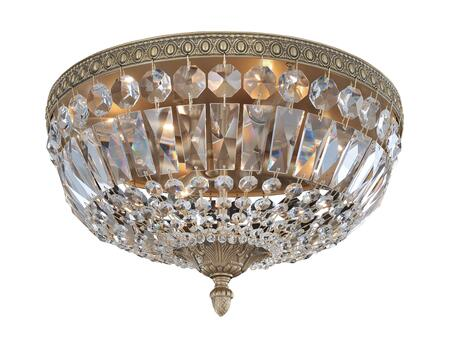 Lemire 025941-031-FR001 4-Light Flush Mount in Antique Gold Finish with Firenze Clear