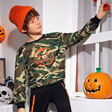 Pullover mit Camo & Halloween Muster