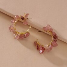 Natural Stone Cuff Hoop Earrings