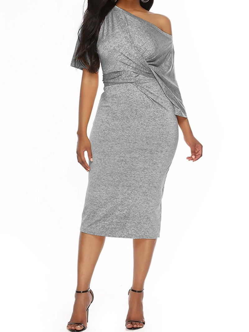 Ericdress Knee-Length Pleated Half Sleeve Pullover Bodycon Dress
