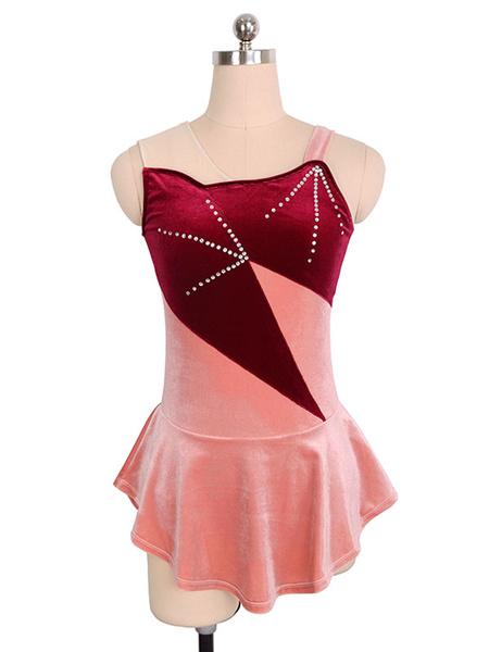 Milanoo Skating Dress Burgundy Korean Velvet Color Block Dance Costumes