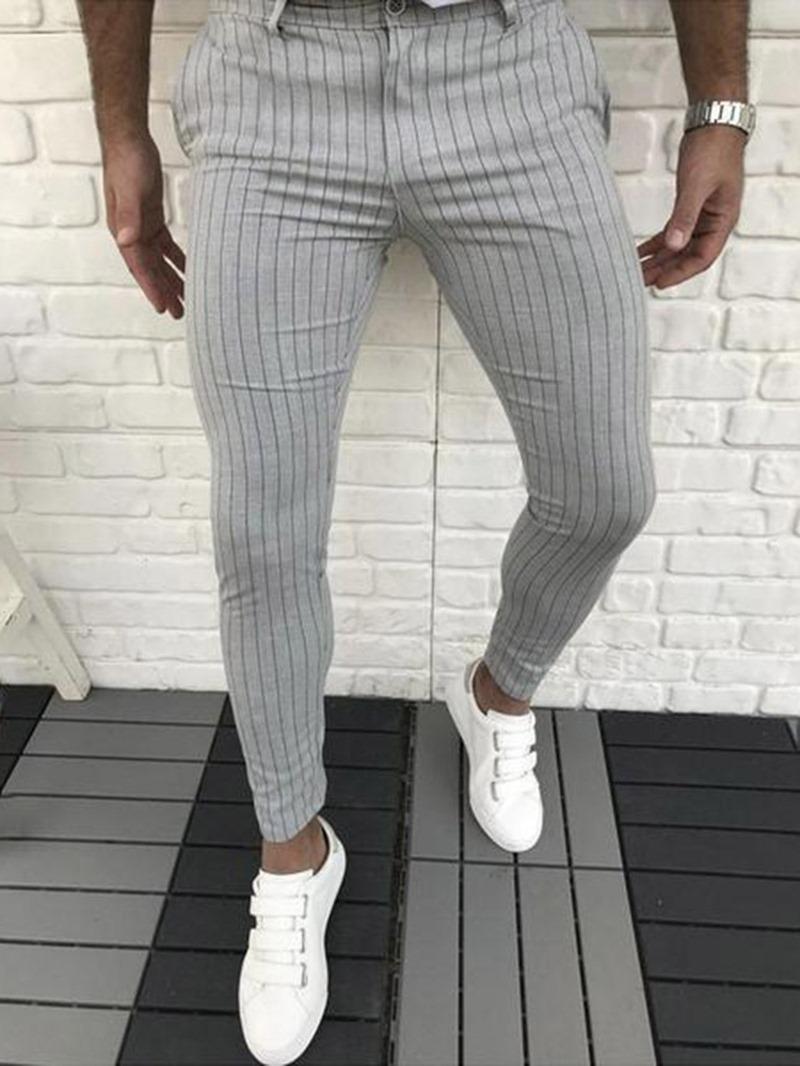 Ericdress Pencil Pants Stripe Four Seasons Mid Waist Casual Pants