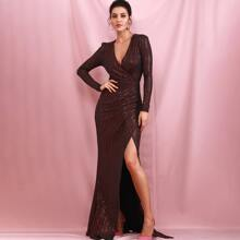 Plunging Neck Sequin Wrap Prom Dress