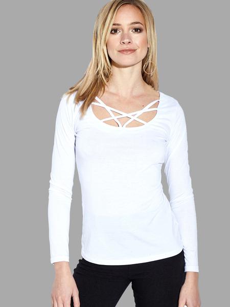 Yoins White See-through Sexy Crossed Straps T-shirt