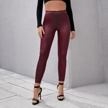PU Leder Skinny Hose mit hoher Taille