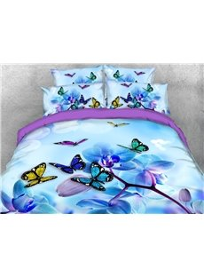 Butterflies and Magnolia 3D Lightweight Warm Comforter Soft 5-Piece Scenery Comforter Sets