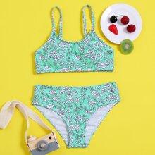 Bikini Badeanzug mit Blumen Muster