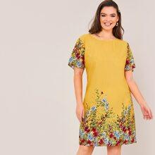 Ubergrosses Kleid mit Pflanzen Muster