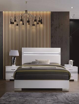 Naima II Collection 26770Q3SET 3 PC Bedroom Set with Queen Size Bed and 2 Nightstands in White High Gloss