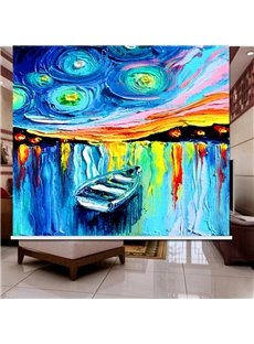 3D Boat on the River Printed Abstract Style Roller Shades