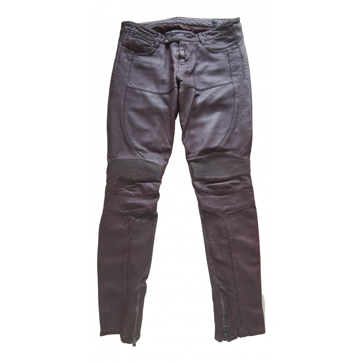 All Saints N Brown Leather Trousers for Women M International