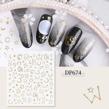 3D Star & Moon Pattern Nail Sticker 1sheet