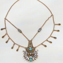 Gemstone & Turquoise Pendant Layered Necklace