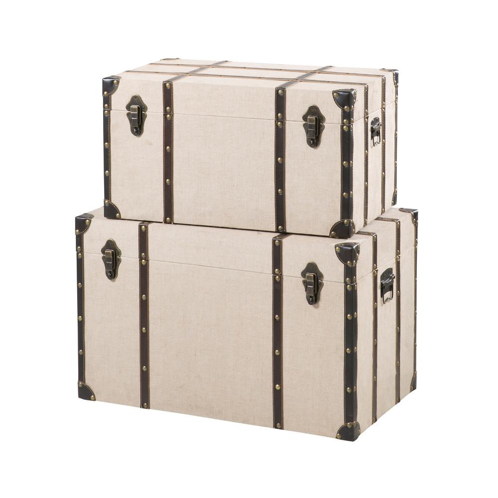 2 Leinenkoffer, beige