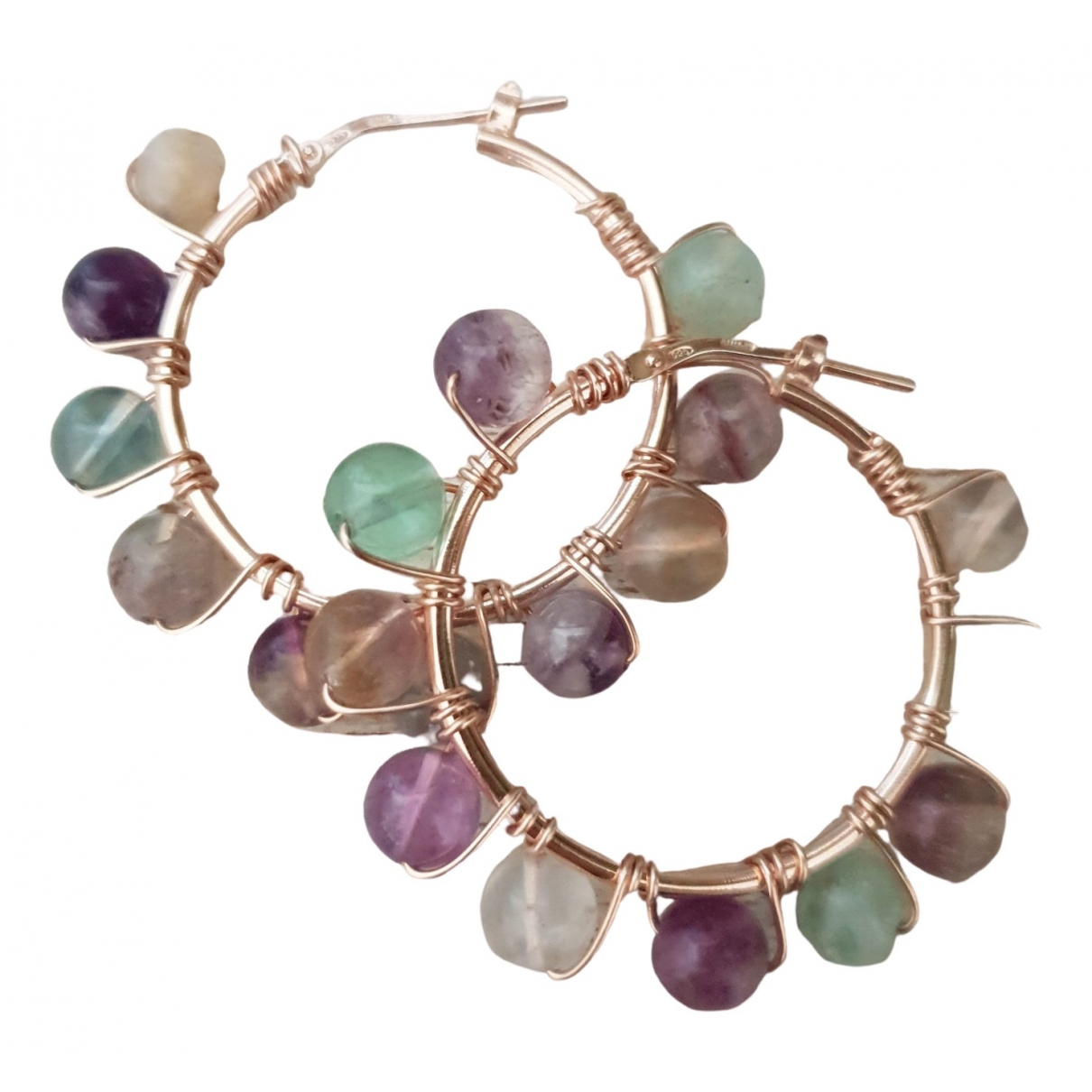 Non Signé / Unsigned Créoles Multicolour Silver Earrings for Women \N
