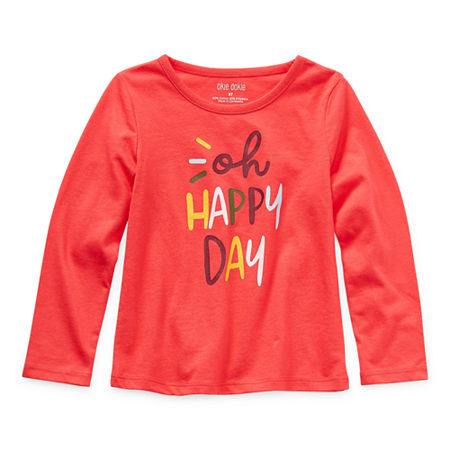 Okie Dokie Toddler Girls Round Neck Long Sleeve Graphic T-Shirt, 3t , Red