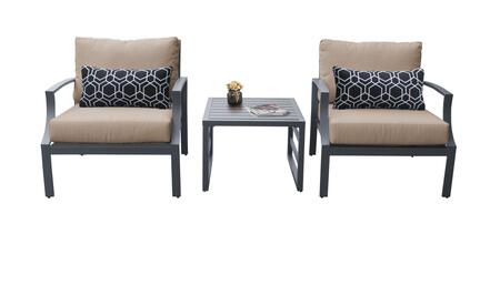 Lexington LEXINGTON-03a-WHEAT 3-Piece Aluminum Patio Set 03a with 2 Club Chairs and 1 End Table - Ash and Wheat