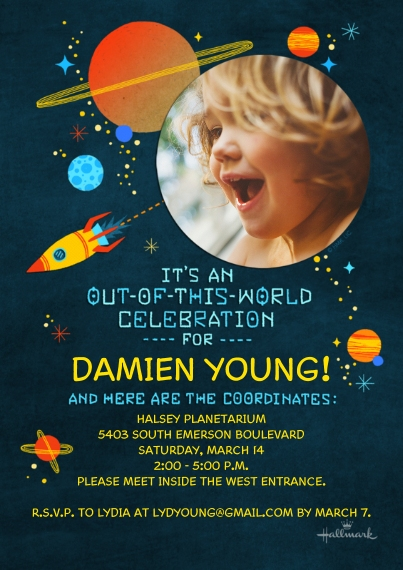 Birthday Party Invites 5x7 Cards, Premium Cardstock 120lb with Rounded Corners, Card & Stationery -Out of This World Celebration