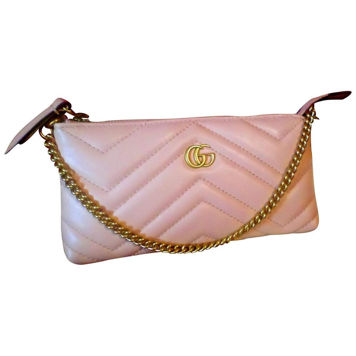 Gucci - Pochette Marmont pour femme en cuir - rose