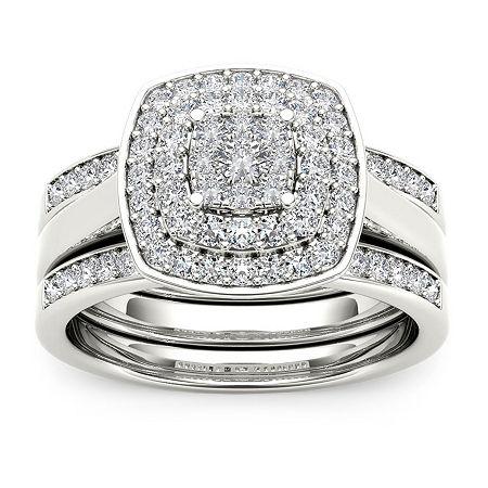 Womens 1/3 CT. T.W. Genuine White Diamond 10K White Gold Bridal Set, 8 1/2 , No Color Family