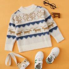 Toddler Boys Deer And Tribal Print Sweater