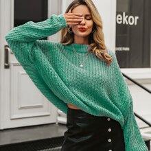 Pullover mit sehr tief angesetzter Schulterpartie und Laternenaermeln