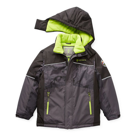 Free Country Little & Big Boys Knit Hooded Water Resistant Heavyweight Parka, X-small (6-7) , Black