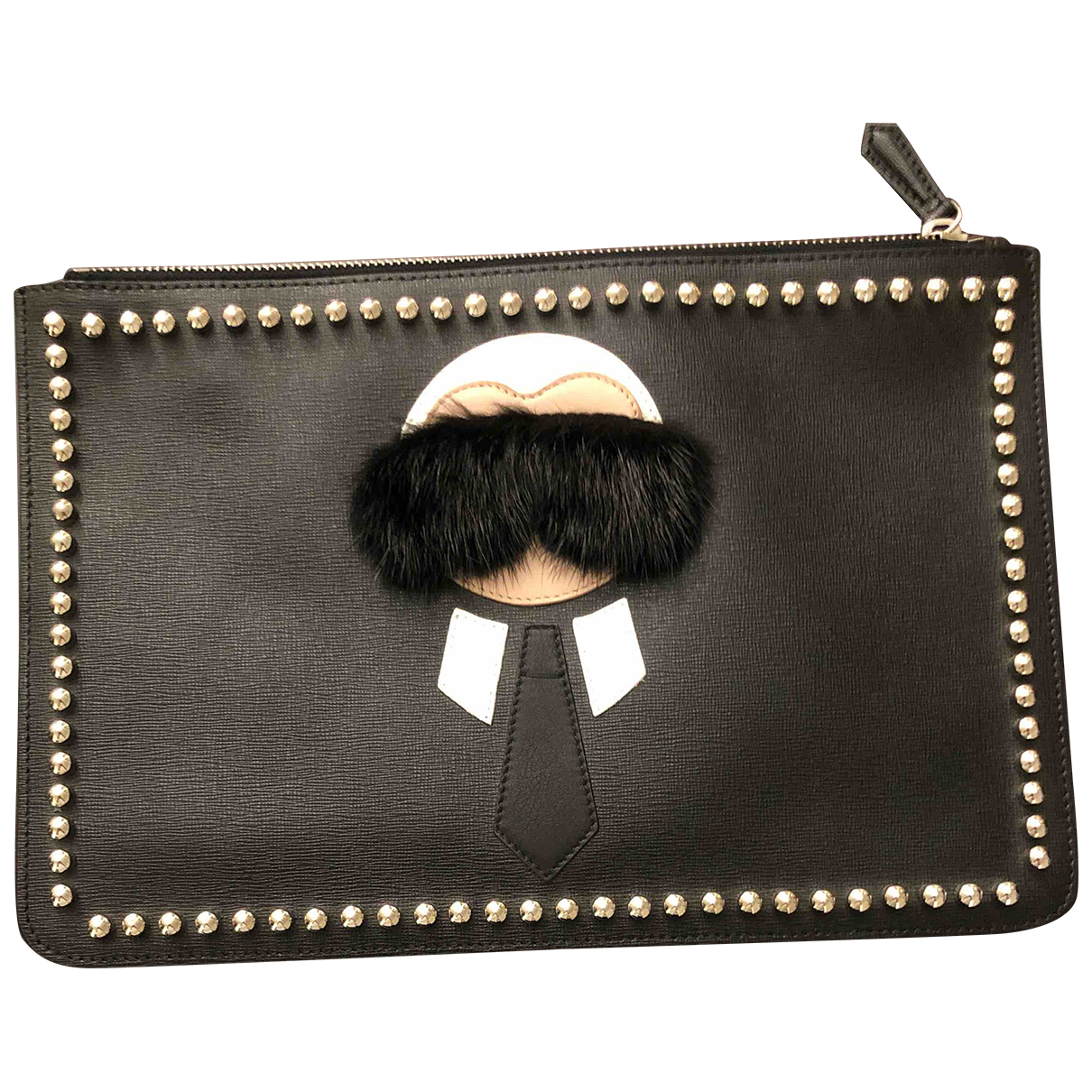 Fendi - Pochette   pour femme en cuir - noir