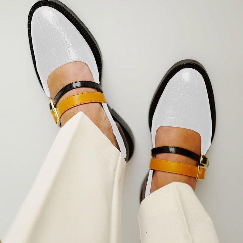 Ericdress Round Toe Buckle Low-Cut Upper Color Block Sneakers